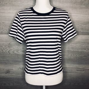 NWT Navy & White Crop High Top by TOPSHOP Size 10